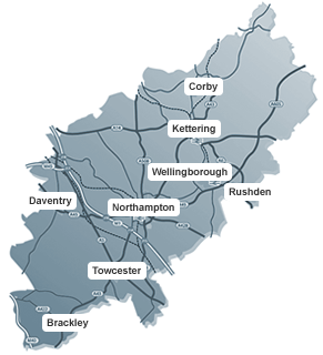 Northamptonshire Town Locations